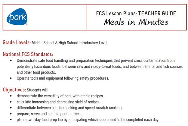 Family And Consumer Science Lesson Plans Wisconsin Pork